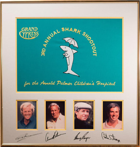 Golf Tournament Signed Flag & Photos, Arnold Palmer, Greg Norman, Gary Player