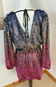 Top Shop Size 12 Wrap Dress Sequins Pink Silver Party Club short BNWT Sparkly