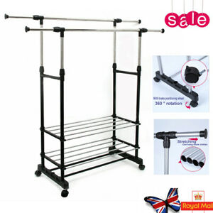 Double Rail Adjustable Clothes Display Hanger Rolling Rack With Wheels Portable