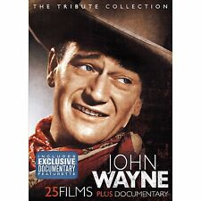 JOHN WAYNE TRIBUTE 25 MOVIES + DOCUMENTARY DVD WESTERN COLLECTION 4 DISC 28HR R4