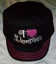 I LOVE Drip Heart VAMPIRES Black Ball CAP Baseball HAT Pink Stitching S/M New