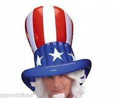 JUMBO UNCLE SAM INFLATABLE TOP HAT American USA Star Stripe Costume Cap Adult