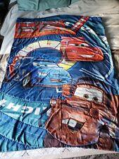 "Disney Pixar Cars Crib Bed Blanket 55""×42"" Lightning Mcqueen Blue Red Toddler"