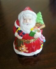 Santa Holding gifts Christmas hinged Trinket Box- Forevers Porcelain Boxes