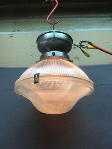 Vtg Industrial Holophane Ceiling Light Fixture Factory Work Old Chrome 573-20E