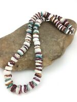 """Navajo Indian Purple Spiny Oyster Turquoise Sterling Silver Necklace 20"""" 2519"""