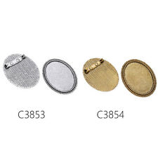 5pc hágalo usted mismo Configuración de base plana redonda Pad Cabujón Broche Pin espaldas Joyería encontrar