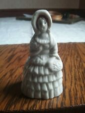 "Vintage Ceramic ""Lady"" Bell, Victorian Ruffled Dress,Basket of flowers ,bonnet"