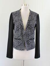 French Connection Gray Black Cheetah Print Contrast Blazer Jacket Size M Leopard
