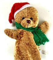 "Vintage Frontier Christmas Teddy Bear Hand Puppet 9"" Plush Stuffed Animal Toy"