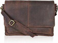Leather Messenger Bag Locking Laptop Briefcase For Men Adjustable, Wood, Size