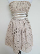 Auth Betsey Johnson Champagne Color Lace Eyelet Strapless Evening Dress Sz 2