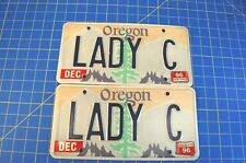 """Pair of Vintage Oregon Personalized License Plates """"LADY C"""" 1996 Free Ship"""