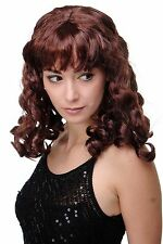 Carnival Wig Wig Curls Long Fringe Mahogany Brown lm-142-p30
