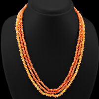 OUTSTANDING 3 STRAND 181.00 CTS NATURAL FACETED ORANGE CARNELIAN BEADS NECKLACE