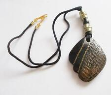 VINTAGE 1970'S LAMINATED WOOD OR LUCITE BLACK PENDANT GOLD TONE NECKLACE