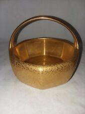 Gold Encrusted R S Germany 8 Sided Basket 4 1/4 Inch Tall Vintage Floral Signed