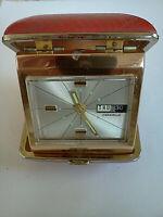 Vintage Caravelle/Bulova Travel Alarm/Date/Day Clock Red Cases Japan Works Well