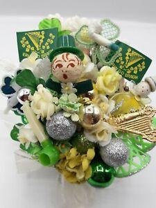Vintage HANDMADE St. Patrick's Day Corsage Decoration Spun Cotton Glass Roses