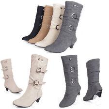 Damen Schlupf Schnallen Absatz Komfort Outdoor Stiefel BootsPumps Stiefeletten