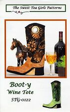 BOOT-Y WINE TOTE SEWING PATTERN, from The Sweet Tea Girls Patterns, *NEW*
