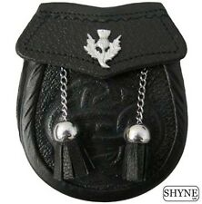 Baby Celtic Embossed Sporran -Thistle On Flap With 2 Tassels & Chain Belt