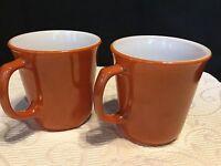 Vintage Pyrex Cinnamon Burnt Orange Milk Glass Coffee/Tea Set Of 2 Mugs