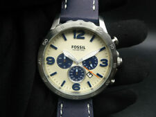 New Old Stock - FOSSIL NATE JR1480 - Cream Dial Navy Leather Quartz Men Watch