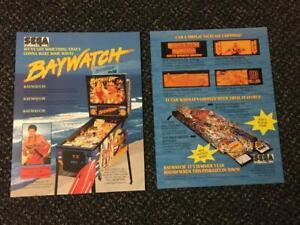 2 1994 FACTORY ORIGINAL SEGA BAYWATCH PINBALL FLYER WITH BONUS