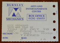 Mick Abrahams Burnley Mechanics 29th  Oct 1998 Ticket Stub – Jethro Tull