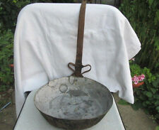 RARE ANTIQUE PRIMITIVE OLD COPPER VESSEL PAN WITH INTERESTING IRON HANDLE