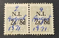 RARE 1966-1972 PAIR NATIONAL INSURANCE OVPT. N.I. & Surcharged 2s8d on 2/4 grey