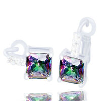New silver shiny cubic zirconia lady's hoop earrings 7 colours