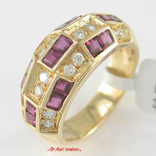 18k Solid Yellow Gold Genuine Diamonds, Natural Red Square Ruby Band Ring TPJ