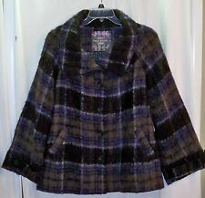 Free People Bonjour Navy Blue Plaid Fuzzy Wool Blend Winter Coat L Sold Out $298