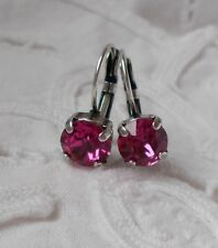 8mm Cup Chain FUSCHIA PINK/ANTIQUE SILVER  Drop EARRINGS~Swarovski Crystals