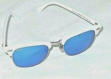 RAY BAN CLUBMASTER RB3016 988/32 49-21 2N WHITE FRAME BLUE MIRROR LENS