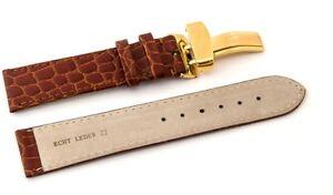 Uhrenarmband Kippfaltschließe-Leder, gepräg- braun 16 mm, 18 mm, 20 mm, 22 mm