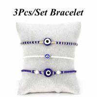 3Pcs/Set Lucky Evil Eye Blue White Rice Bead Bracelet Rope Adjustable Bangle Hot