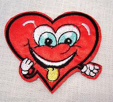 ÉCUSSON PATCH BRODÉ thermocollant - COEUR HUMORISTIQUE SMILEY **6 x 7  cm**