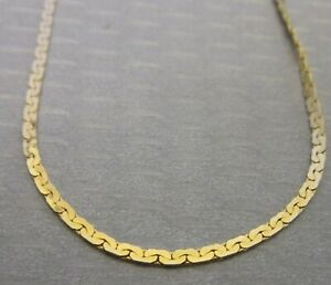 """14K YELLOW SOLID GOLD CHAIN 24"""" long flat virola link necklace"""
