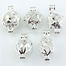 21702 5X/lot Bright Silver Mix Tree of Life Flower Arrow Bead Pearl Cage Pendant