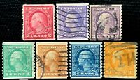 US Stamps SC#490-497 490 492 493 494 495 496 497 Washington and Franklin Coil