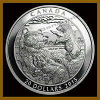 Canada $20 Dollars Silver Proof Coin, 1 oz 2015 Grizzly Bear Family