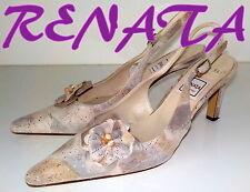 "Luxury Italian ""RENATA"" STAMPATO LEATHER Slingbacks Shoes  UK 3 EU 36  £130"