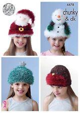 King Cole decorazioni a trama grossa a Maglia Motivo 4478: Natale Tema Per Bambini Novità Cappelli