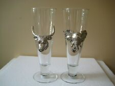 2 Arthur Court Designs Pilsner Beer Glass Elephant & Steer / Bull