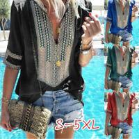 Women Summer Casual Short Sleeve T Shirt V-Neck Tops Floral Loose Blouse