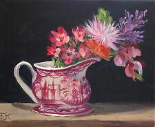 "FINE ART PRINT          FLOWERS IN TOILE PITCHER 8"" x 10"".  K D RYAN"