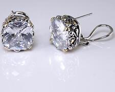 Balinese Designer Earrings Clear CZ Cubic Zirconia Silver Gold 18KGP Omega Back